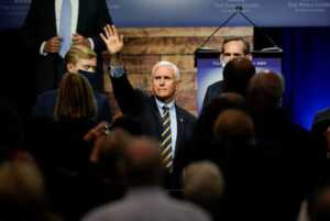 Vice President Mike Pence campaigned in Iowa on Thursday.