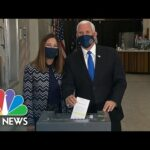 Watch: Vice President Pence, Karen Pence Vote Early In Indianapolis   NBC News NOW
